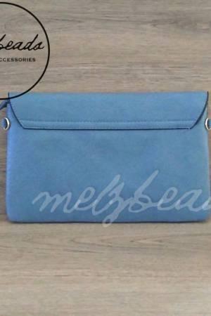 Blue Leather Clutch Pattern Shoulder Bag