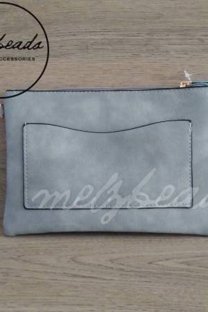 Grey Leather Clutch Pattern Shoulder Bag