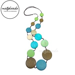 Multi-Size Coloured Round Wooden Bead Necklace In Pastel