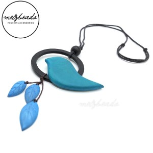 Teal Blue Circle Bird Leaves Wooden Necklace
