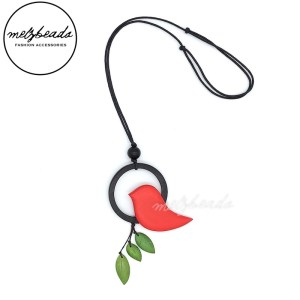 Red Green Circle Bird Leaves Wooden Necklace
