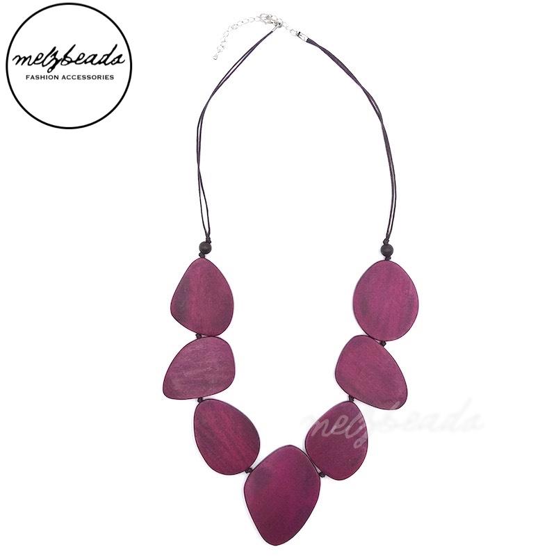 Purple Plum Wooden Leaves Necklace