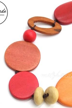 Red Orange Bird Wooden Necklace