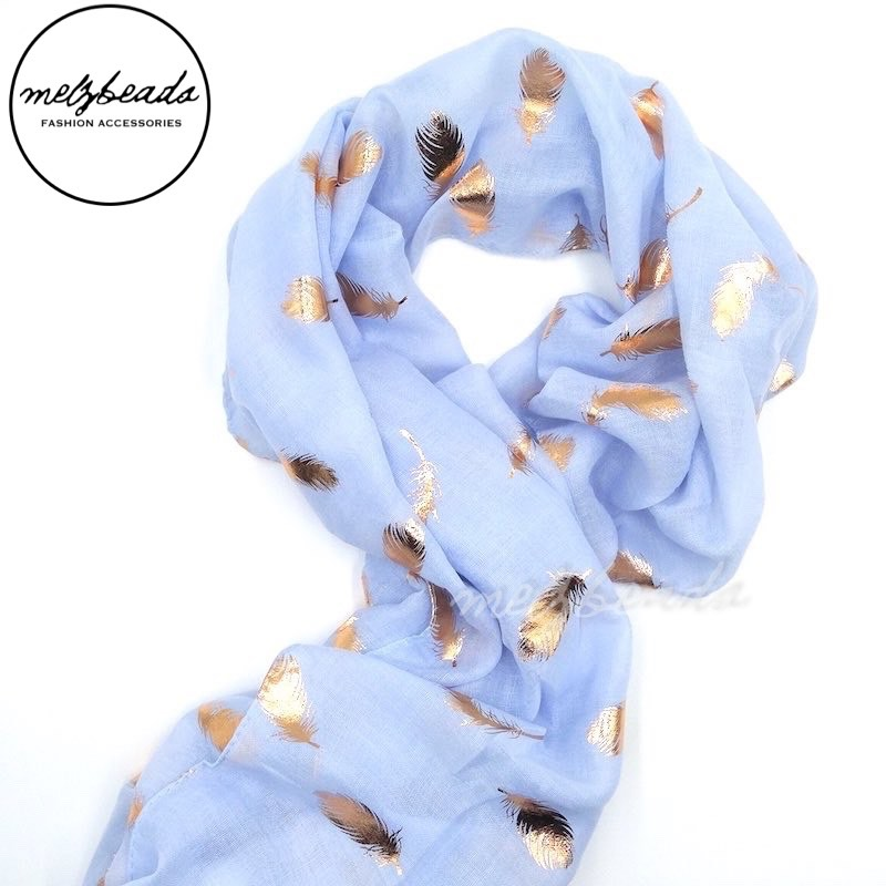 Light Blue Gold Feather Pattern Scarf