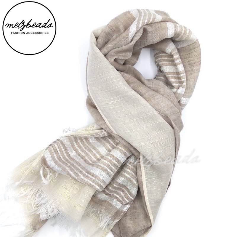 Beige Striped Shimmer Scarf