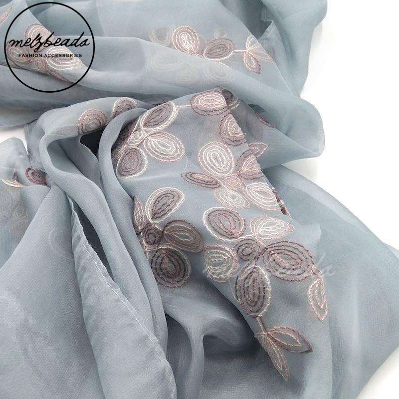 Grey Embroidered Flower Scarf