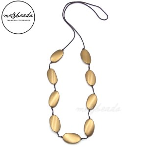 Long Large Copper Oval Wooden Beads Necklace