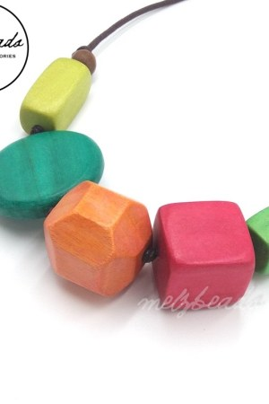 Colourful Chunky Natural Wooden Necklace