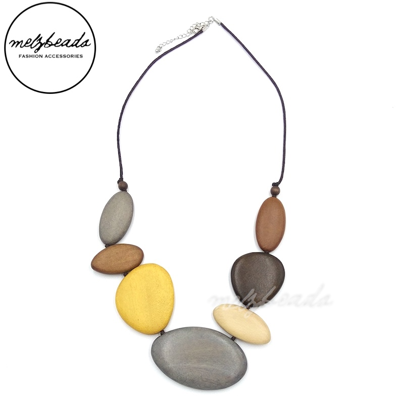 Natural Colours Earth Tone Multi Shape Wooden Necklace