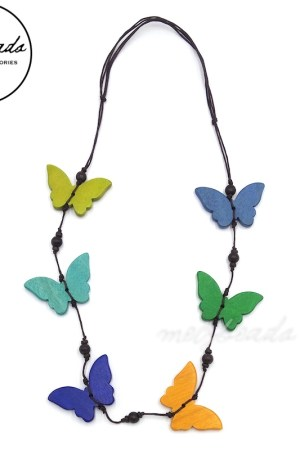 Wooden Multi-Colour Butterfly Necklace