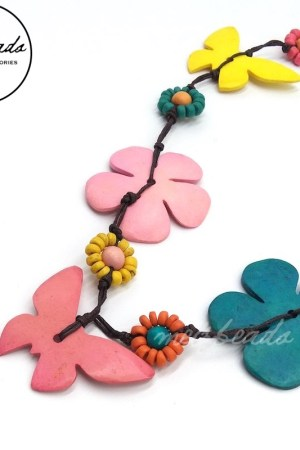 Wooden Multi-Colour Butterfly Flower Necklace