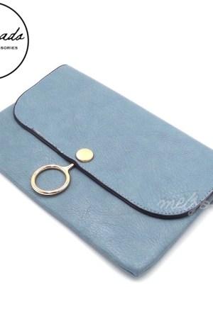 Blue Leather Clutch Shoulder Bag - Viola
