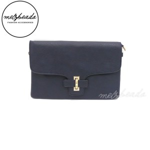 Navy Leather Clutch Shoulder Bag - Gerbera
