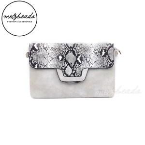 Grey Leather Fake Snake Skin Clutch Shoulder Bag - Varda