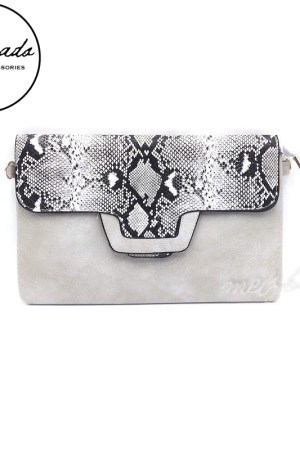 Grey Leather Fake Snake Skin Clutch Shoulder Bag - Varda