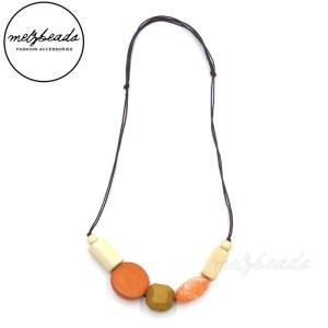 Chunky Orange Cream Wooden Bead Necklace