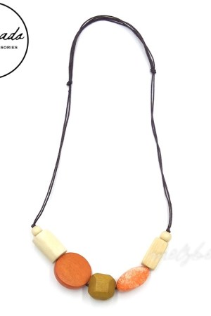 Chunky Orange Cream Wooden Bead Necklace