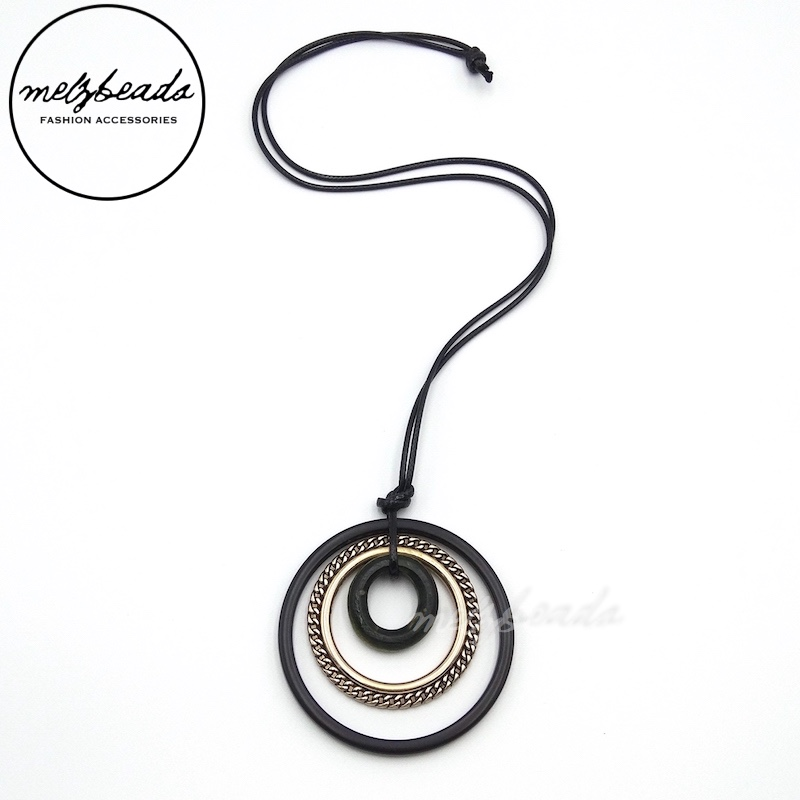 Black Gold Long Metal Geometric Circle Pendant Necklace