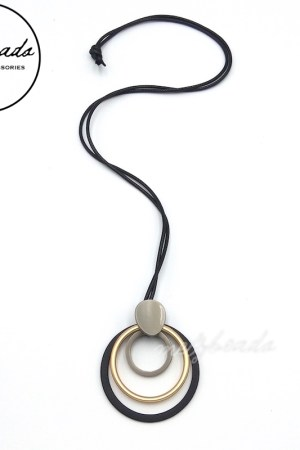 Black Silver Gold Long Metal Geometric Circle Pendant Necklace