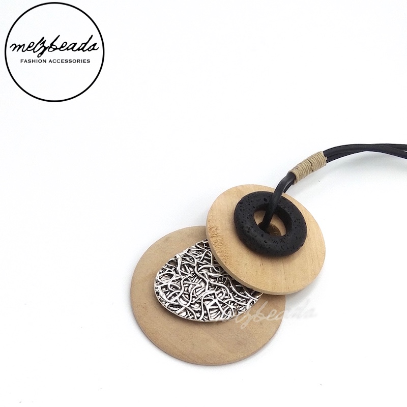 Wooden Natural Earth Tone Pendant Necklace