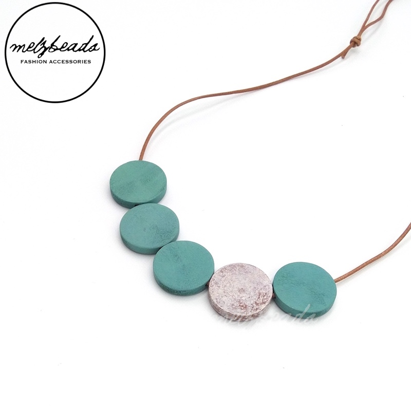 Turquoise Grey Flat Wooden Disc Bead Necklace