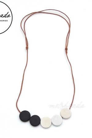 Black White Flat Wooden Disc Bead Necklace