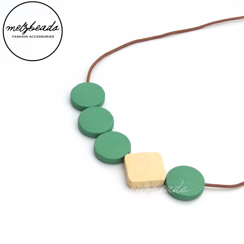 Mint Cream Geometric Flat Wooden Disc Bead Necklace