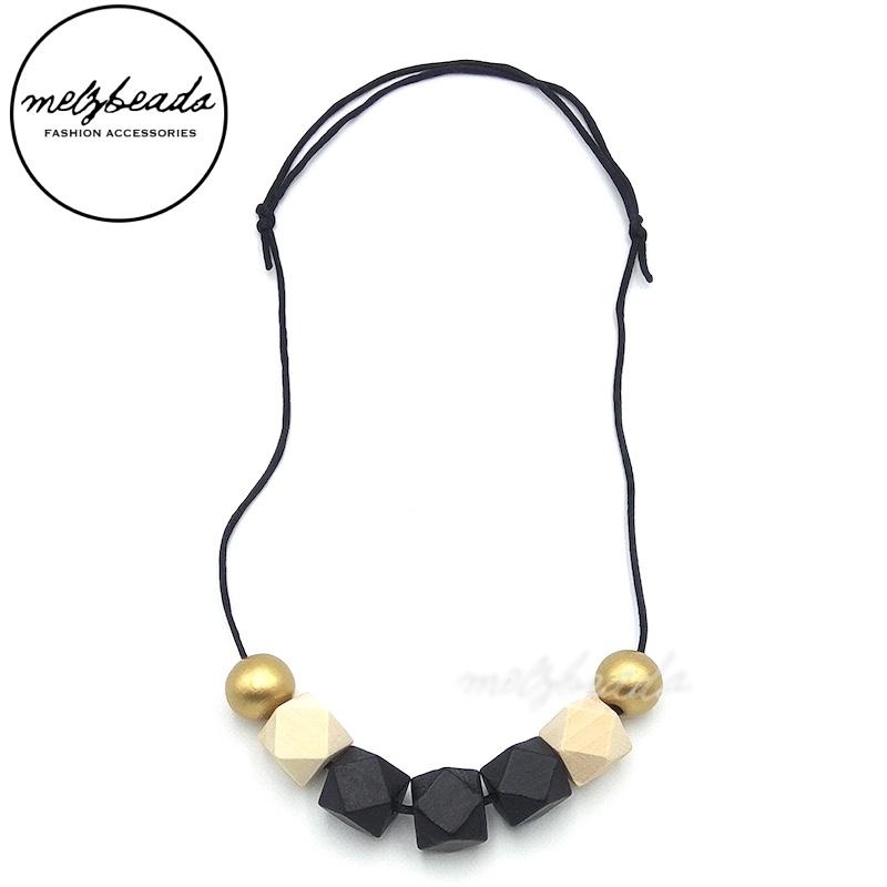 Gold Black Natural Wooden Hexagon Bead Necklace