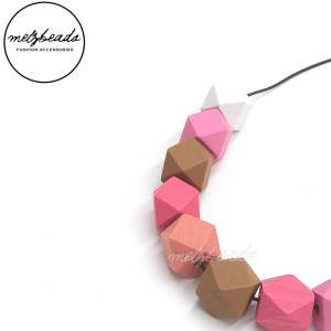 Pastel Geometric Wooden Bead Necklace