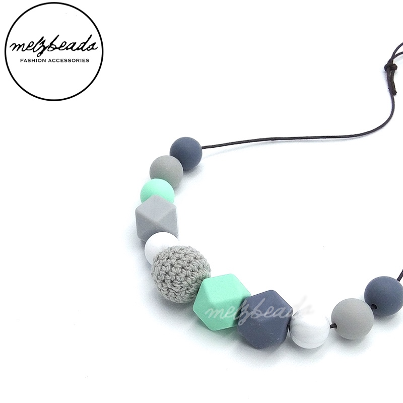 Long Pastel Green Grey Silicone Crochet Bead Necklace