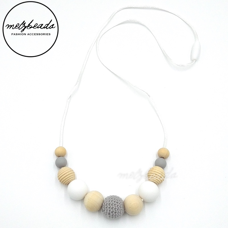 Natural Wooden Silicone Crochet Necklace