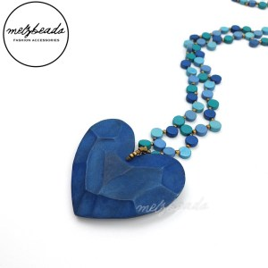 Blue Heart Pendant Wooden Bead Necklace