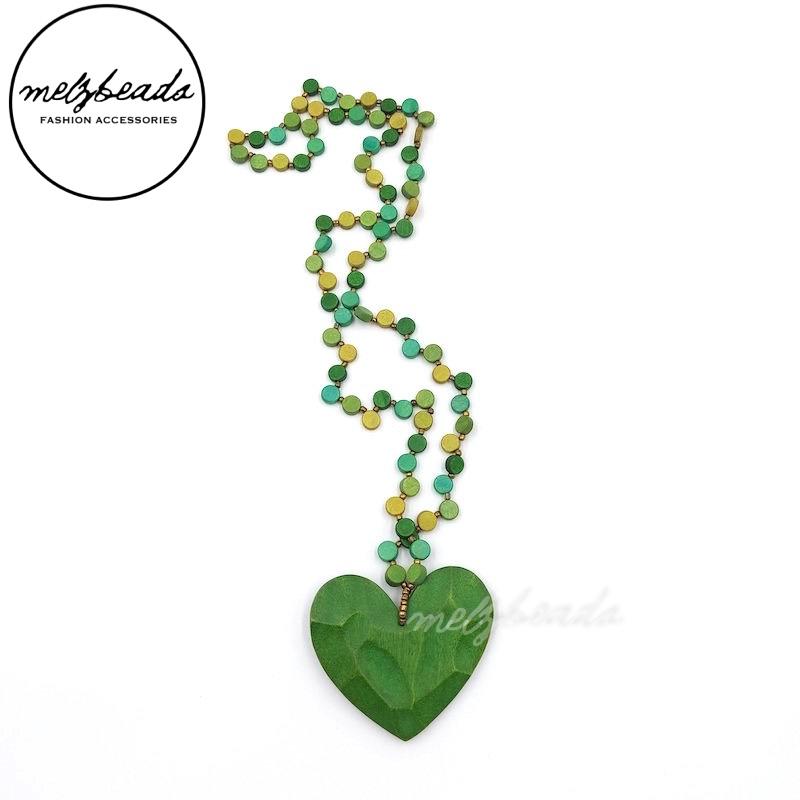 Green Heart Pendant Wooden Bead Necklace