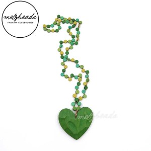 Green Heart Pendant Wooden Bead Necklace