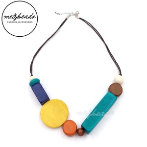 Multi Colour Geometric Wooden Necklace