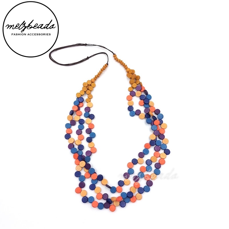Blue Mustard Multi-Strand Wooden Confetti Necklace
