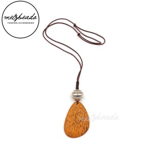 Orange Large Teardrop Wooden Pendant Necklace