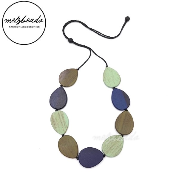 Olive Mint Navy Drop Shaped Wooden Necklace