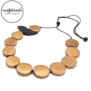 Wooden Bird Disc Necklace in Gold and Black