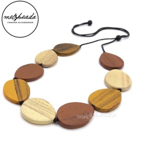 Natural Drop Shaped Wooden Necklace