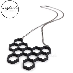 Hexagon Honeycomb Pendant Necklace