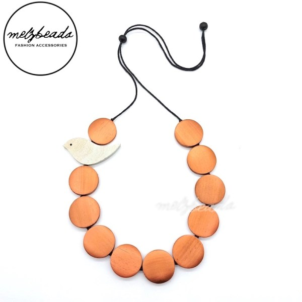 Wooden Bird Disc Necklace Copper