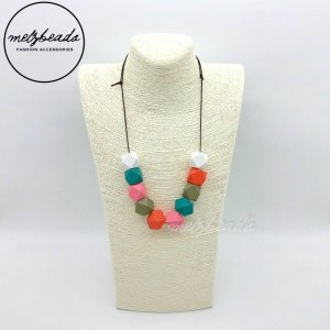 Turquoise White Geomeric Wooden Bead Necklace