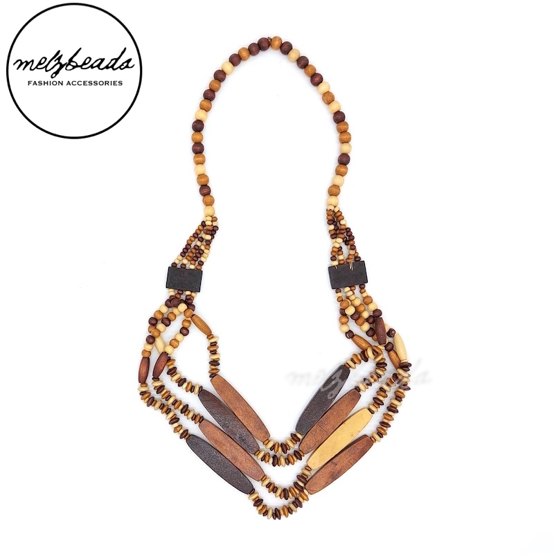 Multi Layered Natural Beaded Wooden Necklace