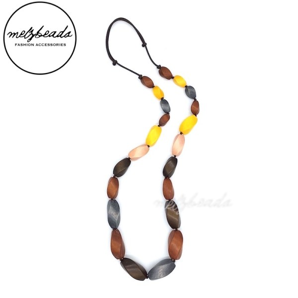 Natural Earth Tone Chunky Wooden Necklace