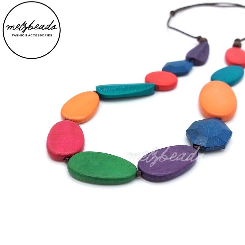 Multi Shape Multi Colour Wooden Bead Necklace