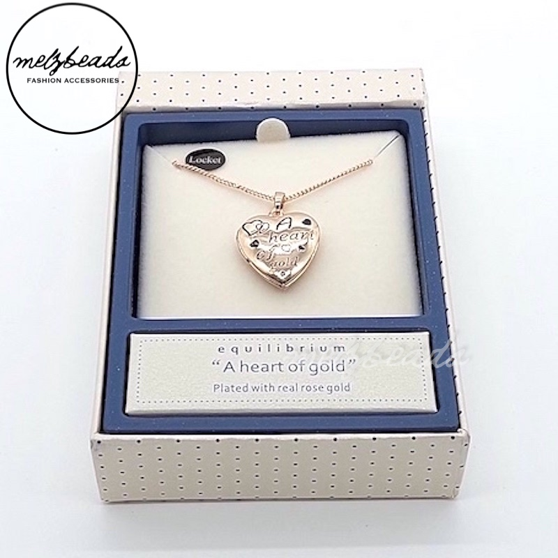 Equilibrium Heart of Gold Locket Necklace in Rose Gold