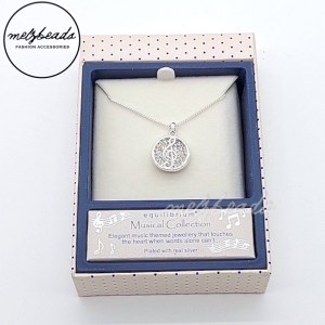 Equilibrium Music Treble Clef Pendant Necklace in Silver