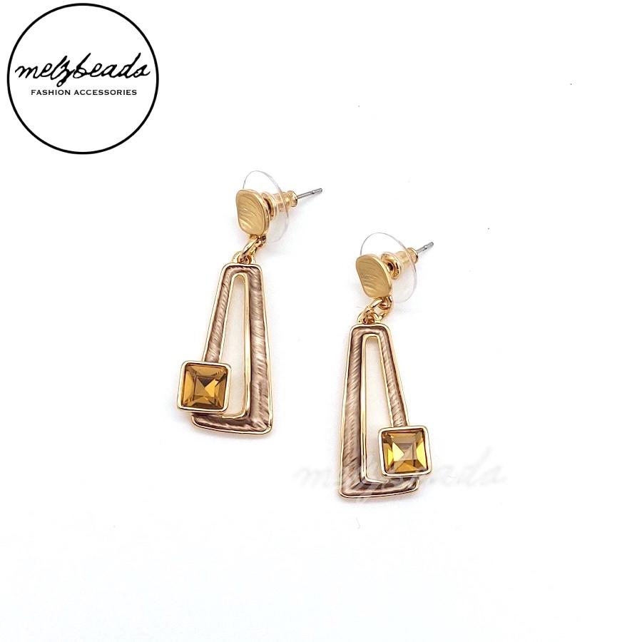 Rose Gold Rhinestone Dangle Earrings