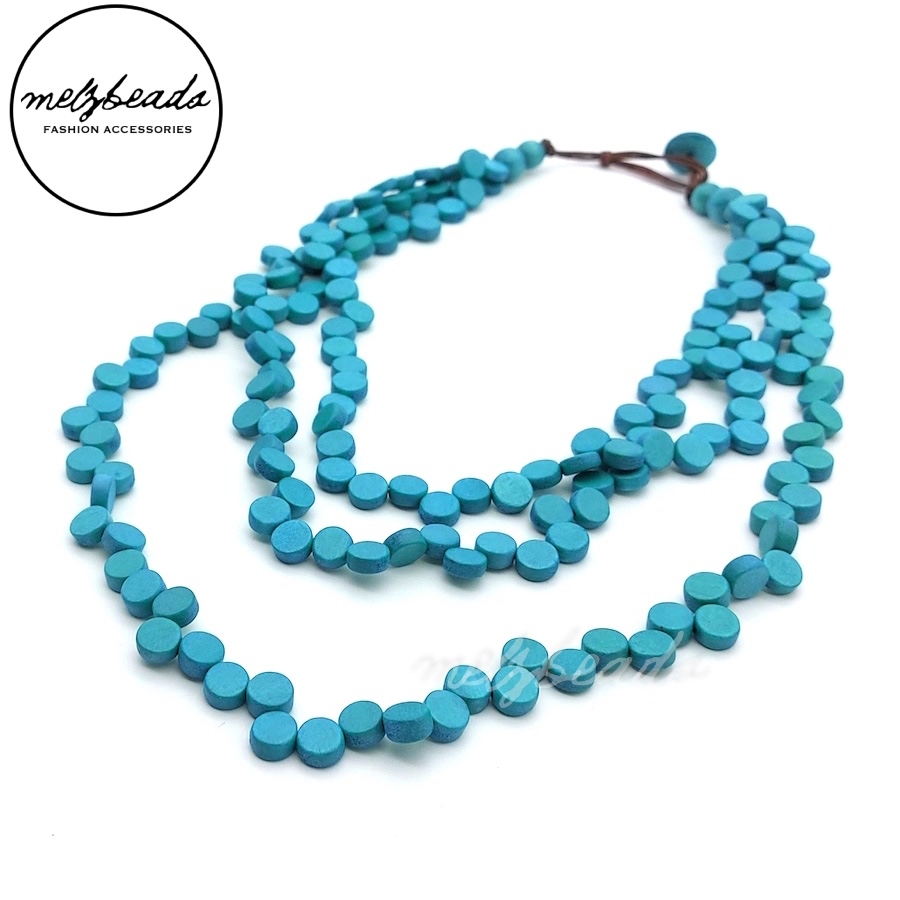 Layered Turquoise Cluster Wooden Necklace